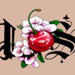 Эскиз тату вишенки с цветами