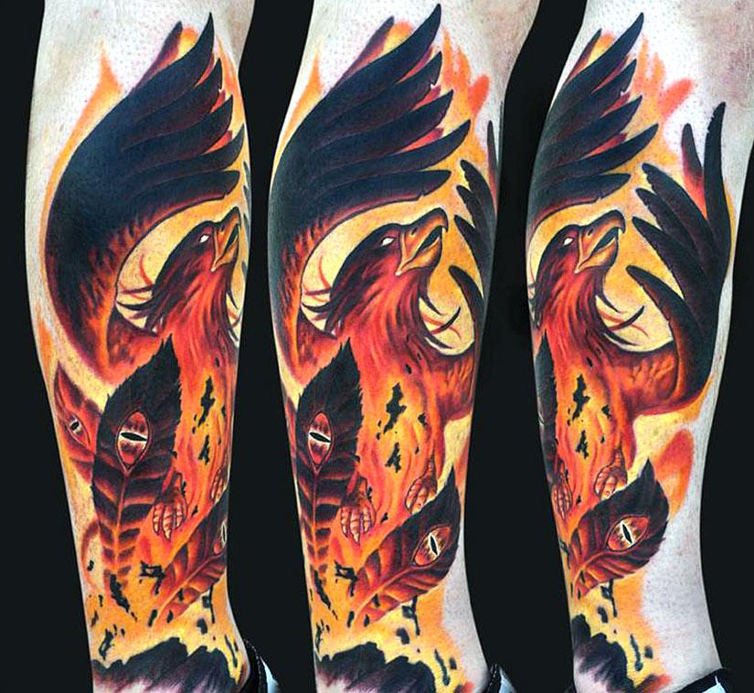 Воскрешение птицы феникс в татуировке