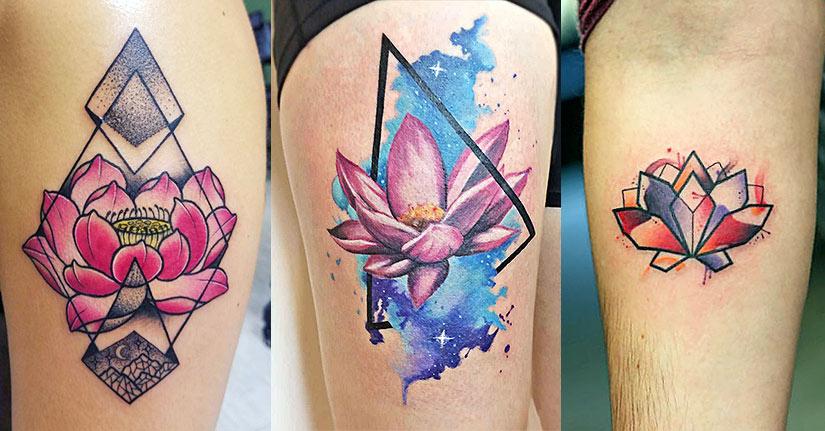 татуировка лотоса в стиле геометрия