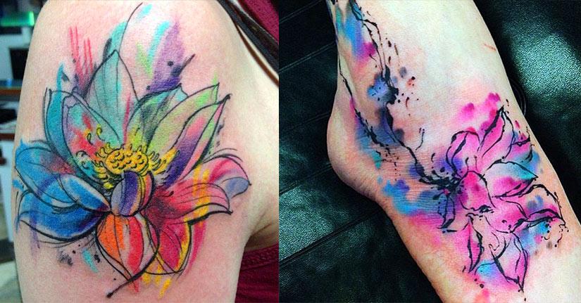 Татуировка лотоса в стиле акварель