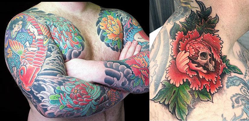 Мужская татуировка пионов в восточном стиле