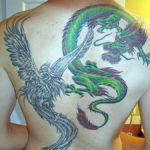 Тату дракон и феникс