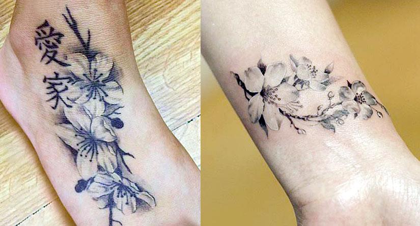 Татуировка с белыми цветами вишни