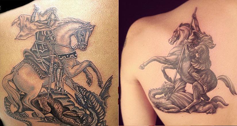 Татуировка коня с Георгием победоносцем и драконом