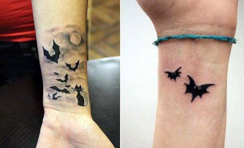 Татуировка с летучей мышью на запястье