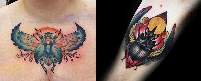 Татуировка жук скарабей и солнце