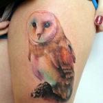 Татуировка с совой, цветная