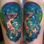 Татуировка с трехглазой совой