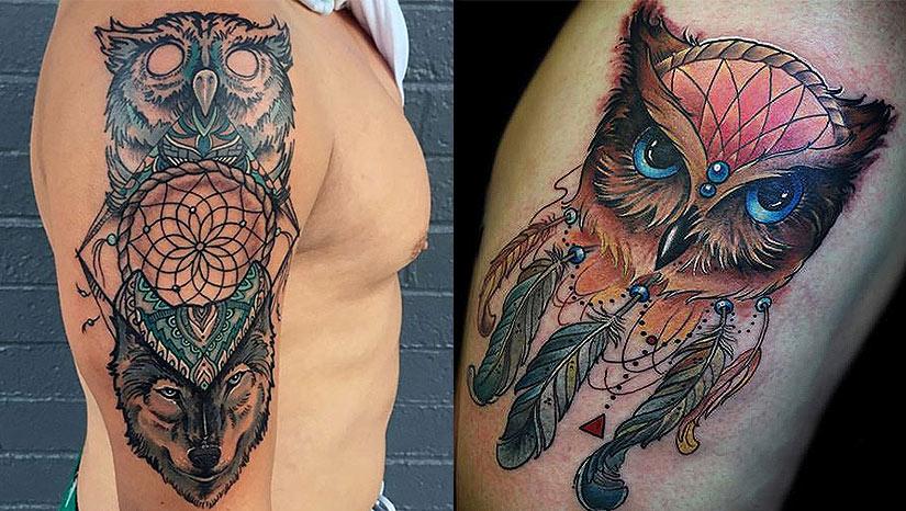 Татуировка совы и ловца снов
