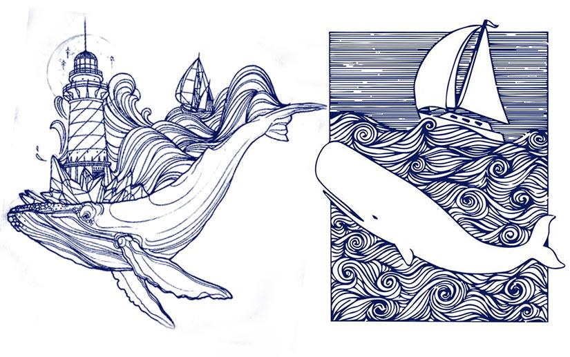 Эскиз тату кит и маяк, кит с парусником