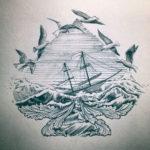 Эскиз тау чаек над морем и корабль