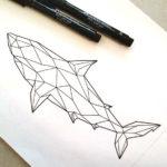 Эскиз тату акулы в полигональном стиле