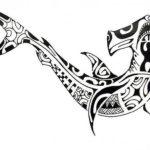 Эскиз тату акулы Полинезия