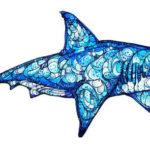 Эскиз тату акулы с абстрактным рисунком