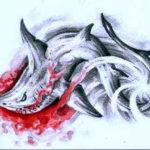 Эскиз тату акулы с кровью