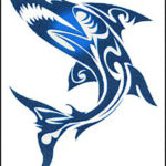 Эскиз татуировки акулы в стиле трайбл