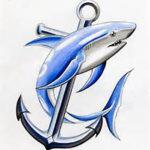 Эскиз татуировки с акулой и якорем