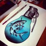 Эскиз тату акулы в лампочке