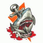 Эскиз тату акулы и якоря