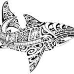 Эскиз тату акулы в стиле Полинезия