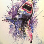 Эскиз тату акулы в стиле акварель