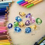 Эскиз тату россыпь цветных алмазов