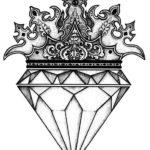 Эскиз тату алмаз с короной