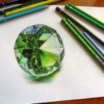 Эскиз тату зеленый алмаз