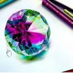 Эскиз тату разноцветный алмаз