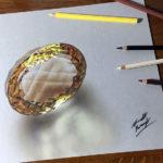 Эскиз тату золотистый алмаз