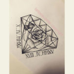 Эскиз тату алмаз с розой
