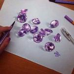 Эскиз тату россыпь сиреневых алмазов