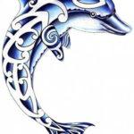 Эскиз тату с узором на дельфине