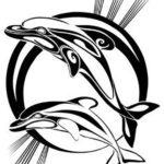 Эскиз татуировки в виде двух дельфинов