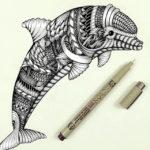 Эскиз тату дельфина