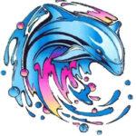 Эскиз дельфинов инь янь