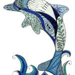 Эскиз дельфина выпрыгивающего из воды в виде узоров