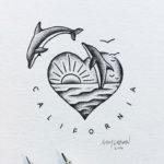 Эскиз дельфинов на фоне сердца в виде солнца и моря