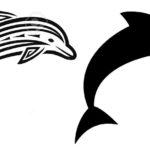 Эскиз тату дельфинов, хорошо подойдет на руку
