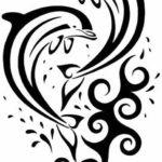 Красивый эскиз дельфинов для девушек