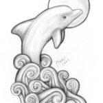 Эскиз дельфина с волнами и солнцем