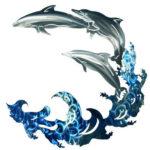 Три дельфина резвятся на волнах