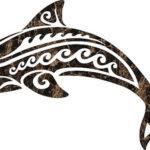 Эскиз дельфина с волнами на теле