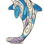 Эскиз тату дельфина в трех цветном варианте в виде узоров