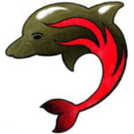 Эскиз тату дельфинчика с пламенем