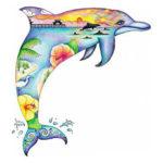 Красивейший эскиз тату дельфина в виде силуэта с пляжем, морем, горизонтом