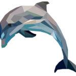 Эскиз тату с дельфином в полигональном стиле и пастельном цвете