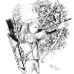 Эскиз тату эльфа с луком и стрелами