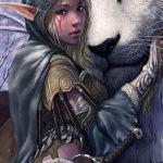 Эскиз тату эльфийки с животным