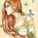 Эскиз тату эльфа с бабочками